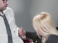 Sexy office secretary helps her boss to relax.