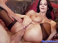 Two stunning brunettes in tit job and anal