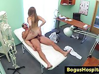 Blonde russian patient ride on doctor's cock