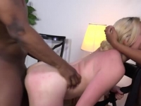 Two wild babes sharing black cock