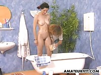 Tall brunette banged by the toilet