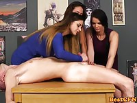 Three Sexy Chicks Give Luky Guy a Handjob