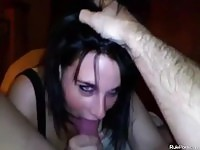 Dark Hair Horny Wife Giving A Head POV