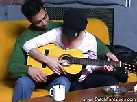 Dutch girl offering pussy to a guitar man