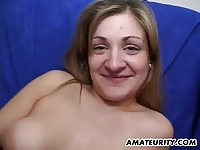 Chubby amateur toyed and facialized
