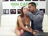 Extremely hot brunette teen in a brutal fucking session