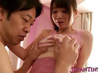 Petite asian sucking on a guys cock