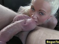 Busty blonde British babe gets nailed in a cab