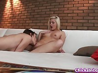Two sexy lesbian beauties playing