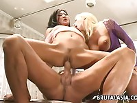 Two wild sluts fucked in the kitchen