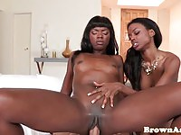 Horny ebony chicks got ther their cunt stuffed