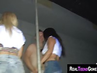 Amateur girls dancing naked in a party