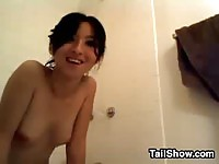 Sexy Asian amateur rubbing her twat in the bathroom