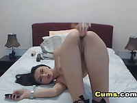 Beautiful Great Tits Babe Bending For Dildo Fucking
