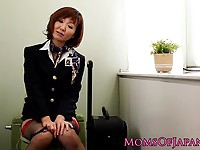 Mature Japanese stewardess toying