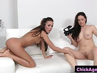 Two stunning lesbians in casting sex