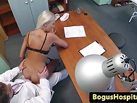 Blonde amateur pussyfucked by the doctor