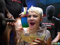 Wet and messy pissing orgy for the fetish blonde