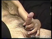 Hairy mature man wanking