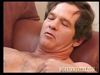 Gorgeous mature man jerking