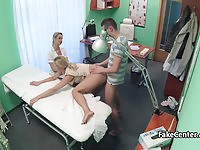 Couple having sex in front of voyeur nurse