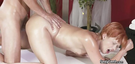 Chubby MILF redhead gets banged by the horny masseur
