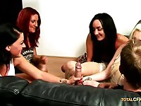 Four hot CFNM ladies playing with the guy's fat cock