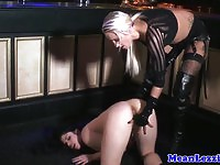 Blonde British lezdom gets all dirty with a strapon