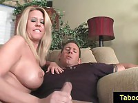 Buxom cougar jerks off a stud on the first date