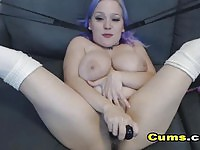 Busty blue haired amateur goes crazy with her toys