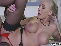 Incredible MILF babe in lingerie fucked hard