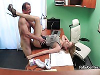 Sexy blonde patient takes a double cumshot from the doctor
