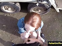 Amateur redhead gets fucked outdoors by a cop