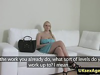 Czech blonde with huge tits fools around with the agent's cock