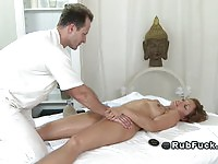 Sweet babe fingered and fucked by the masseur