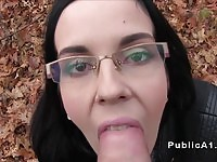 Brunette with glasses fucked in public by a fake agent