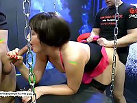 Nasty German mature in gang bang