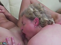 Blonde granny eating fresh pussy