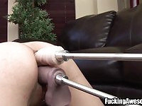 Open minded MILF gets double penetrated by a machine