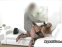 Voluptuous blonde model fucked hard during the interview