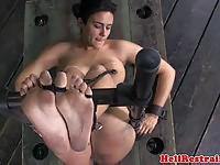 Brunette sub tormented and toyed by the master