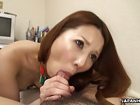 Perfect Japanese amateur sucks and rides a meatbone