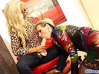 Two slutty blondes toying