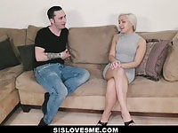 Skinny blonde sister doing her stepbrother