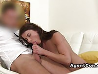 European brunette sucks dick and gets nailed during casting