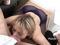 Amateur with round tits rides the agent's cock with so much passion
