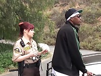 Horny police officer Katrina in outdoor fuck