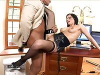 Tempting brunette secretary wants anal sex from the boss