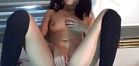 Small tits asian rubbing her pussy on cam show