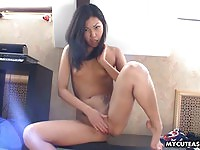 Small titty asian undress and masturbates on cam
